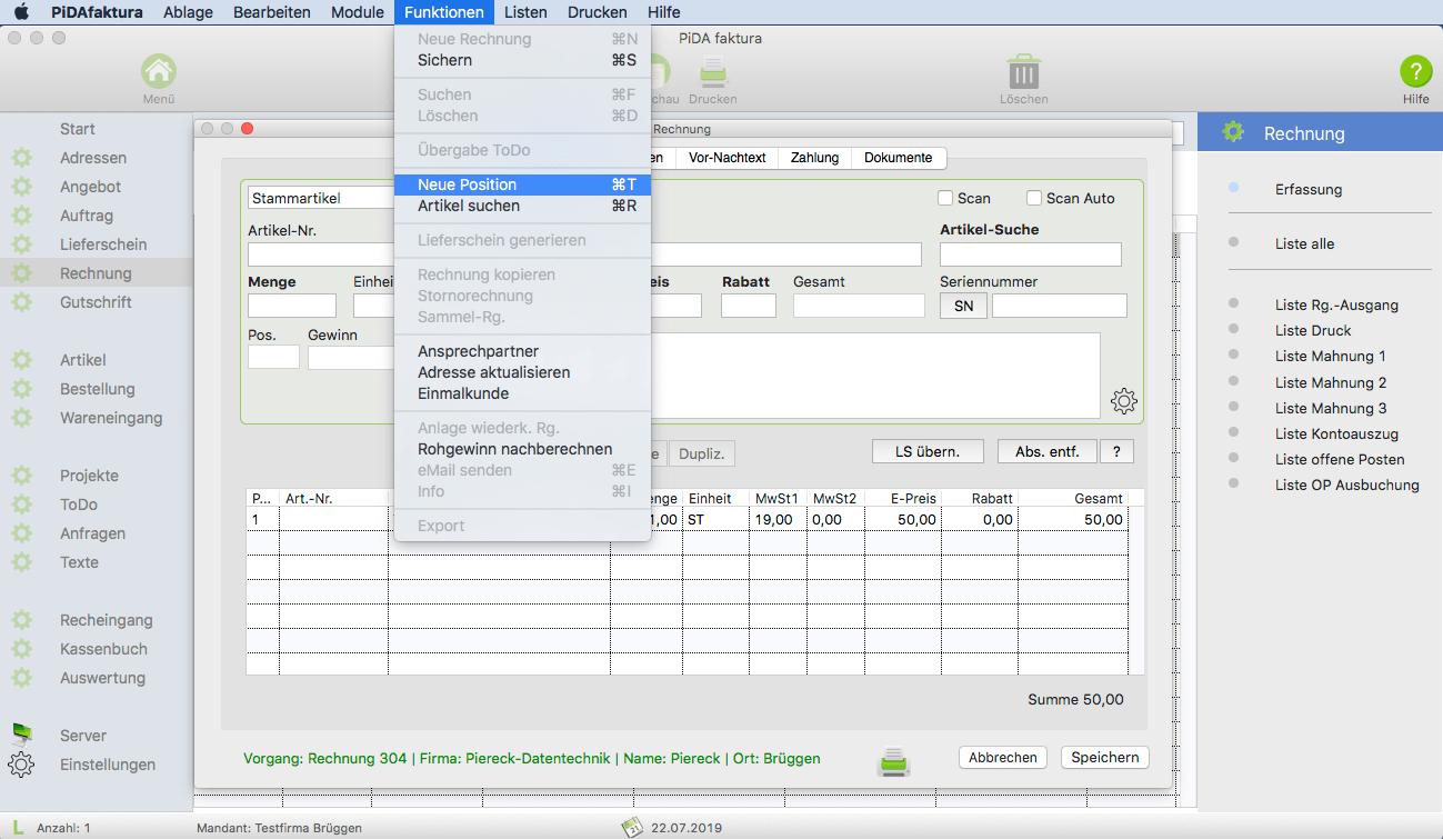 Rechnungsprogramm fuer Mac
