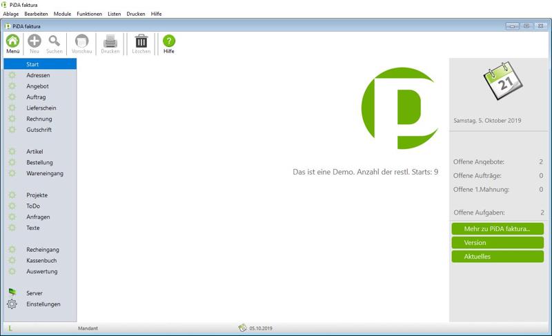 PiDA faktura Menü für Windows