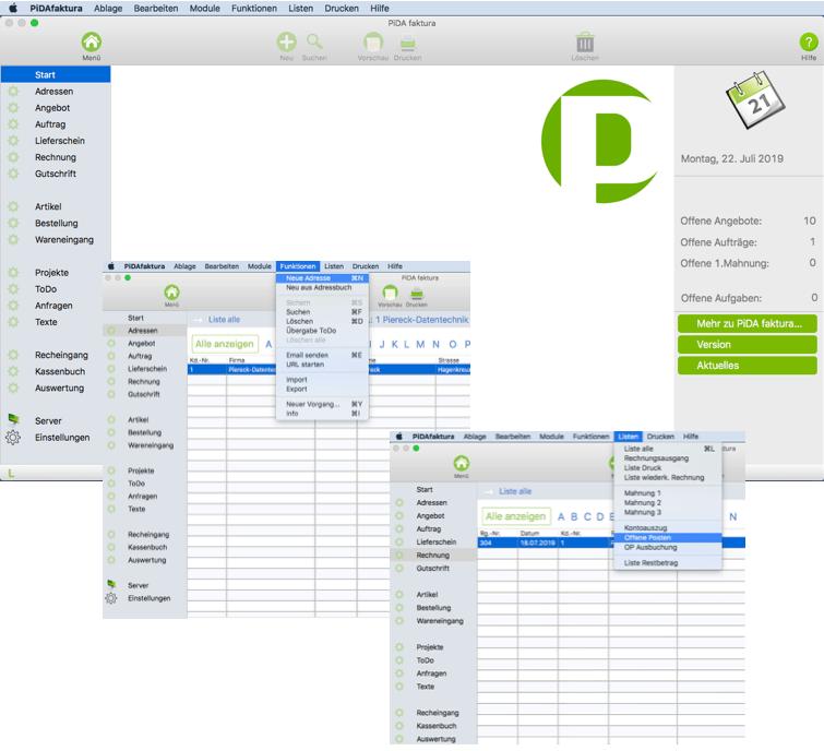 PiDA faktura, das Rechnungsprogramm für den Mac und PC.