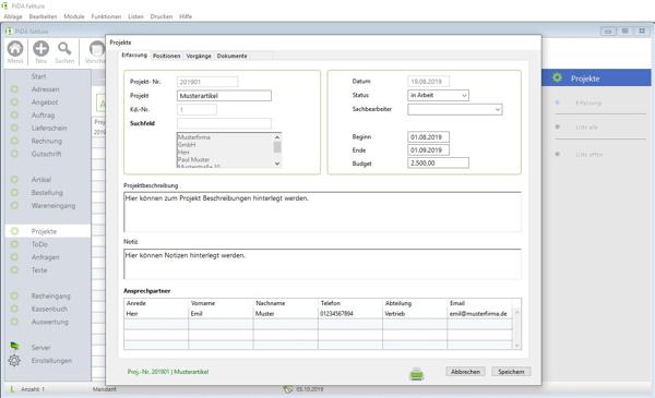 PiDA faktura, die Rechnungssoftware für den Mac oder PC.