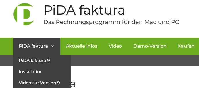 PiDA faktura, neue Website