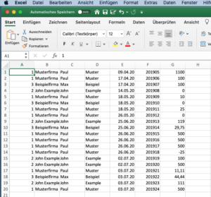 Daten in Excel importieren