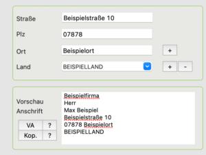 PiDA faktura Adress-Vorschau-Feld