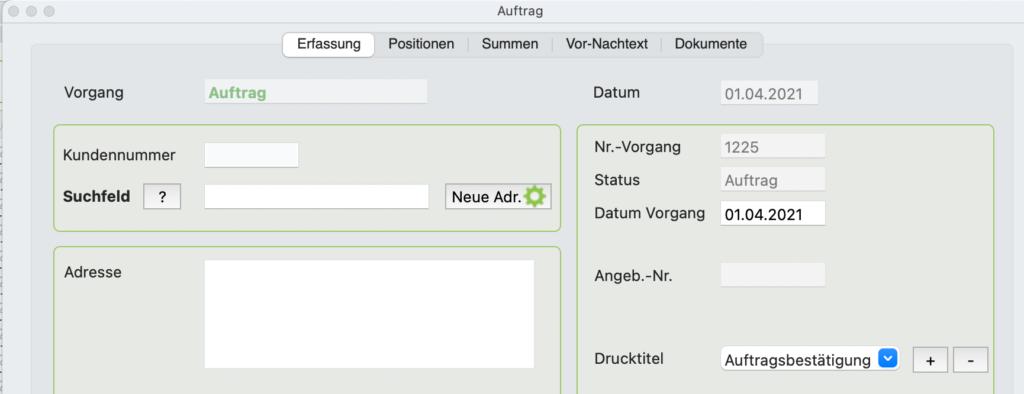 Rechnungsprogramm Mac, PiDA faktura 9.5, neue Adresse anlegen